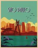 Curso do cartaz do vintage de Sao Paulo Fotos de Stock