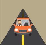 Curso do homem de negócios pelo carro ilustração stock