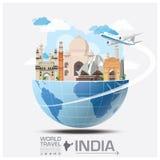 Curso do marco da Índia e viagem globais Infographic ilustração royalty free