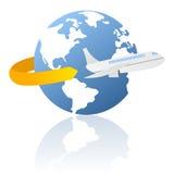 Curso do mundo e logotipo da entrega Imagens de Stock