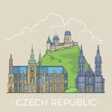 Curso do mundo no vetor liso linear de República Checa ilustração royalty free