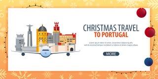 Curso do Natal a Portugal Neve e rochas do barco Ilustração do vetor ilustração stock