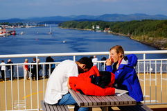 Curso do navio de cruzeiros, Langesund, Noruega Fotos de Stock Royalty Free