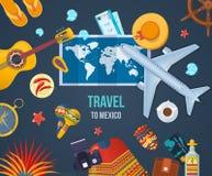 Curso do verão a México Tropece, viagem aérea pelo plano, viagem Fotos de Stock Royalty Free