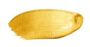 Curso dourado da escova do vetor Mancha da pintura da textura da aquarela isolada no branco Fundo pintado à mão abstrato para cum Imagem de Stock