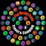 Curso e ícones de acampamento Imagem de Stock