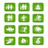 Curso e esporte da família dos ícones Fotografia de Stock
