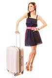 Curso e férias Mulher com o saco da bagagem da mala de viagem Imagens de Stock Royalty Free