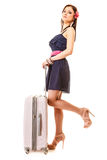 Curso e férias Mulher com o saco da bagagem da mala de viagem Foto de Stock Royalty Free