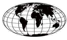 Curso e mapa de mundo preto Imagens de Stock