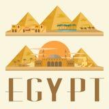 Curso e marco de Egito ilustração do vetor do conceito Fotografia de Stock Royalty Free