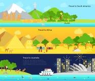 Curso e turismo ao continente principal de Ámérica do Sul, Afric Imagem de Stock