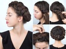 Curso elegante do penteado da trança foto de stock