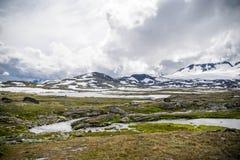 Curso em montanhas de Noruega no verão Fotos de Stock Royalty Free