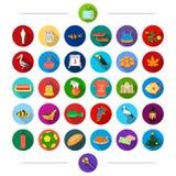 Curso, esporte, arquitetura e o outro ícone da Web no estilo liso negócio, ecologia, ícones de matéria têxtil na coleção do grupo Foto de Stock