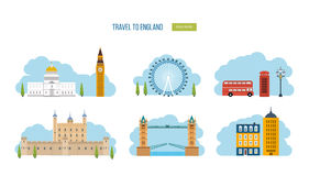 Curso liso do projeto dos ícones de Londres, Reino Unido Fotos de Stock Royalty Free