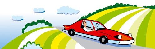 Curso no carro Imagem de Stock Royalty Free
