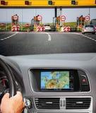Curso pelo carro com sistema de navegação Foto de Stock