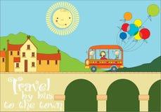 Curso pelo ônibus à cidade ilustração royalty free