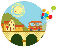 Curso pelo ônibus à cidade ilustração stock