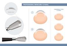 Curso profissional do tratamento de m?os Como usar um empurrador da cutícula Tipos da unha Pregue ferramentas da extensão e do tr ilustração stock