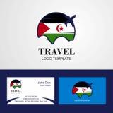 Curso projeto de cartão ocidental de Sahara Flag Logo e da visita ilustração stock