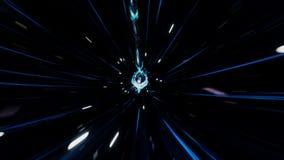 Curso sem emenda atrav?s de um wormhole atrav?s do tempo e do espa?o enchidos com milh?es de estrelas e de nebulosa Espa?o do Wor video estoque