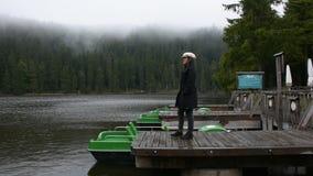 Curso tailandês asiático da mulher e passeio na ponte de madeira da margem no lago Mummelsee vídeos de arquivo