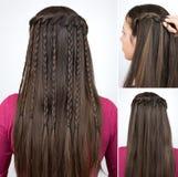 Curso trançado da cascata do penteado Fotos de Stock