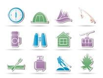 Curso, turismo, férias e objetos da montanha Imagens de Stock
