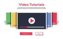 Curso video liso do conceito de projeto do Web site do projeto do modelo Vecto ilustração stock