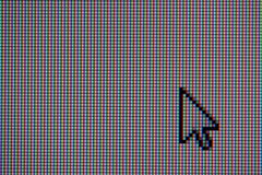 Cursor. A close-up photo of a LCD screen with a pointer (cursor Royalty Free Stock Images