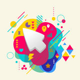Cursor on abstract colorful spotted background with different el Stock Photo