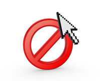 Cursor annd symbol of ban. Royalty Free Stock Photos