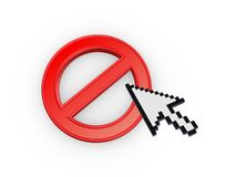 Cursor annd symbol of ban. Stock Photo