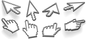 Cursor arrow hand pixel 3D cursors set. Computer interface hand cursor and arrow cursor in different 3D angle variations, 2 float, 2 with drop shadows Stock Photography