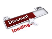 Discount loading bar with cursor. Cursor arrow over discount bar with red section rising to one hundred percent Stock Photos