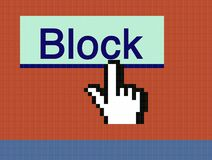 Cursor and Block button. Screen capture of hand cursor over Block button Royalty Free Stock Images