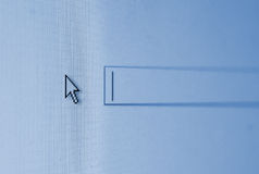 Cursor on a blue screen of search box Stock Photo