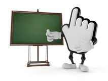 Cursor character with blank blackboard. Isolated on white background. 3d illustration Royalty Free Stock Images