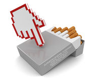 Cursor and Cigarette Pack (clipping path included) Stock Photos