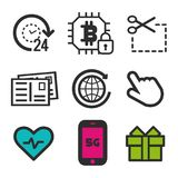 Cursor click icon. Heart beat symbol. Post card icon. smartphone 5G sign. 24h open and cryptocurrency security icons. Eps10 Vector Stock Image