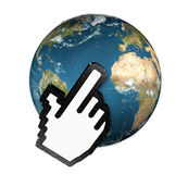 Cursor clicking planet earth. 3d hand cursor clicking planet earth Stock Photo