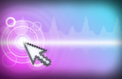 Cursor clicking on virtual colorful screen Royalty Free Stock Images