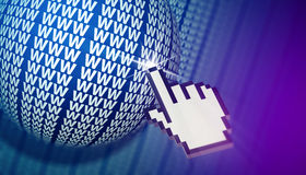 Cursor clicking www globe in cyberspace. Stock Photos