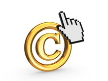 Cursor and copyright symbol. Royalty Free Stock Photo