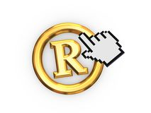 Cursor and copyright symbol. Stock Photo
