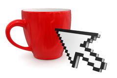 Cursor and cup(clipping path included) Royalty Free Stock Photo
