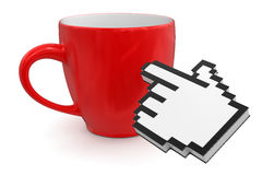 Cursor and cup(clipping path included) Royalty Free Stock Photography