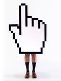Cursor da mão do comércio electrónico com pés masculinos Imagem de Stock Royalty Free